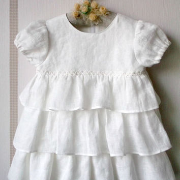 Eco friendly white linen ruffle baby dress with puff sleeve Baptism dress First birthday girls dress Baby girl shower gift