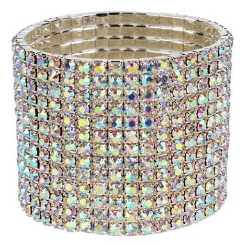 "6.50"" unstretched crystal bracelet bangle 1.85"" wide  bridal prom arm candy"