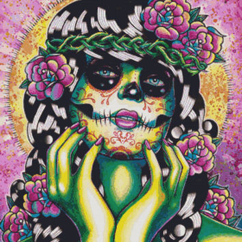 Modern Cross Stitch Kit ' Somewhere in the between ' By Carissa Rose Needlecraft Kit - Day of the Dead Sugar Skull and Butterflies