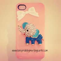 Peach Teal Elephant iPhone 4/4s Case