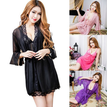 1 Set Lingerie Sexy Women Fashion Night Wear Underwear Lace Bath Dress Sleepwear = 1705629572