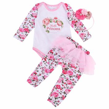 Kids 1st Birthday Crown Newborn Baby Clothing Romper+Pants+Headband 3PCS Set;2017 New Floral Bebe Baby Girl Clothes Sets Autumn