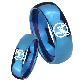 His Hers Mirror Blue Dome Honey Bee Tungsten Carbide Wedding Rings Set