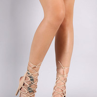 Qupid Corset Lace-Up Strappy Stiletto Heel