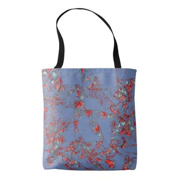 Red Blue Abstract Delicate Ornament Tote Bag