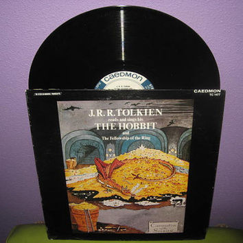 Rare Vinyl Record Album J.R.R. Tolkien Reads & Sings The Hobbit and Fellowship of the Ring Lp 1975
