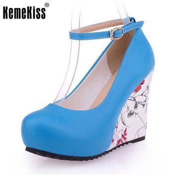 Fashion Ankle Strap High Wedges Platform Summer Pumps Women Casual Flower Print Wedge