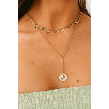 Never Really Over Layered Necklace (Antique Gold)
