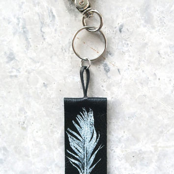 Feather Print Leather Keychain, Handmade Leather Key Ring, Leather Bag Charm, Key Holder, Gift under 25 for Women, Gift for Coworker
