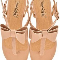 TIMELESS FIOCCO Nude Patent Sandals - SHOES | FLATS | Sandals | PRET-A-BEAUTE.COM