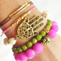 Pink Moss Boho Layered Bracelet Stack in Moss Green, Brown and Bright Pink