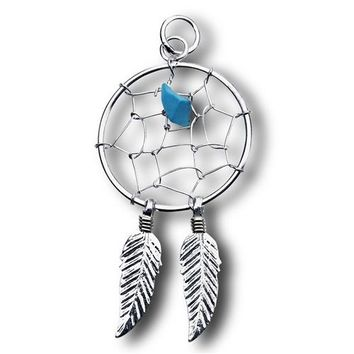 Sterling Silver Dream Catcher Pendant with Synthetic Turquoise