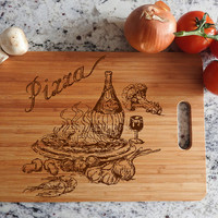 ikb18 Personalized Cutting Board Wood eating pizza ingredients pizza kitchen