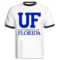 C-DIY Men's Color Block Tshirts Casual University Of UF Logo Florida S Black