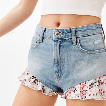Floral print denim shorts with blonde lace trims - Shorts - Bershka United States