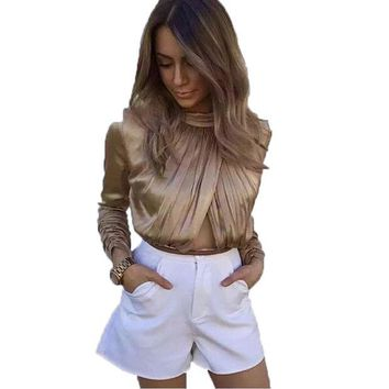 ONETOW Smoves Sexy High Neck Long Sleeve Autumn Winter Spring Front Rouched Keyhole Women Satin Bodysuits Playsuits Rompers Jumpsuits