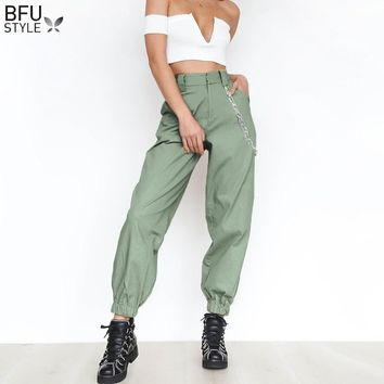 2018 Women Chain High Waist Long Harem Pants Casual Baggy Party Thin Trousers Pockets Work Solid Loose Pantalon Young Girl
