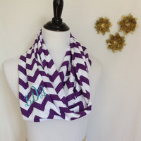 Monogrammed Purple and white chevron Infinity scarf, chevron Infinity scarf, zigzag scarf, infinity scarf, monogrammed gift