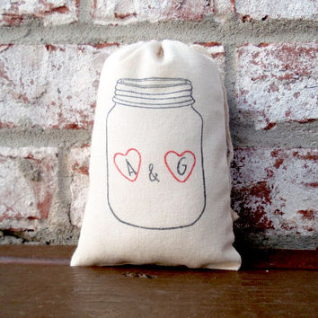 Personalized Initials and Hearts Mason Jar Hand Stamped Cotton Muslin 4x6 Favor Bag - Great for Weddings, Showers or Engagement Parties