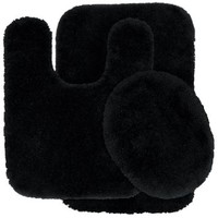 Garland Rug 3-Piece Finest Luxury Ultra Plush Washable Nylon Bathroom Rug Set, Black