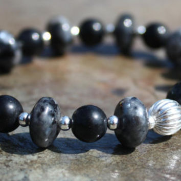 Labradorite and Obsidian Unisex Bracelet for Magic, Adventure, Spiritual Healing, and Protection