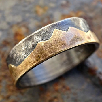 gold mountain range ring, outdoor wedding ring, promise ring gold black silver gold wedding band personalized, custom mountain ring men