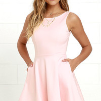 Wanderlust Blush Pink Skater Dress
