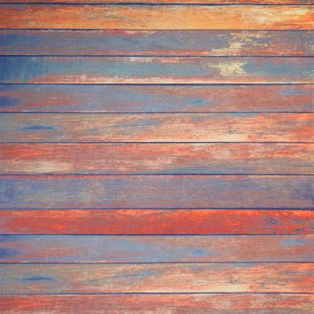 Bright Orange Planks With Blue Tint Candy Floor Backdrop 4x5 - LCCFSL339 - LAST CALL