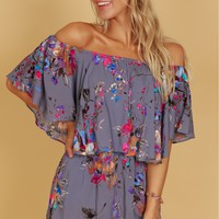 Off The Shoulder Print Romper Grey/Pink
