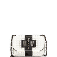 Christian Louboutin Sweety Charity Spiked Bicolor Crossbody Bag, White/Black