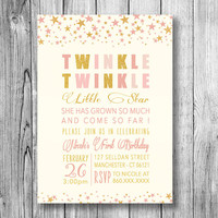 Twinkle Twinkle Little Star Invitation Girls First Birthday Girl Kids Party Invite Pink Gold Sparkle Baby (Printable Custom Order Download)