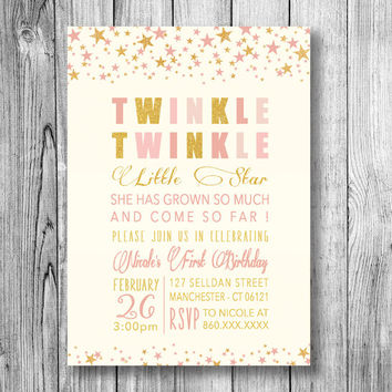 Shop Babys First Birthday Invitations On Wanelo - 1st birthday invitations gold and pink