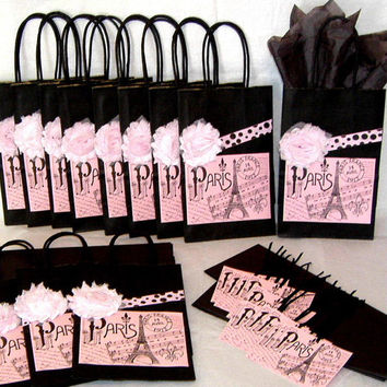 Twelve Paris Eiffel Tower Paper Gift Bags Black and Pink Sets with Eiffel Tower Labels, Fabric Flowers, & Matching Tags