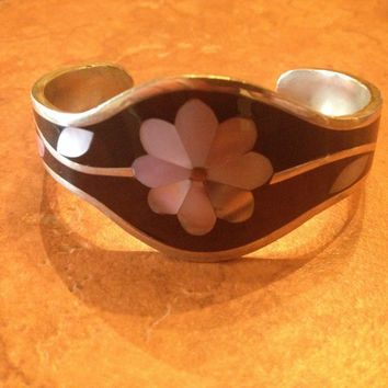 Vintage Alpaca Silver Bracelet Black Mother of Pesrl Flower Mexican Jewelry