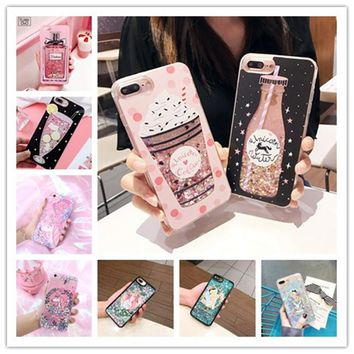 Luxury Cute Princess Alice Bottle Glitter Star Dynamic Liquid Quicksand Phone Case For iPhone 5 5S 5SE 6 6S 7 8 Plus X Cases