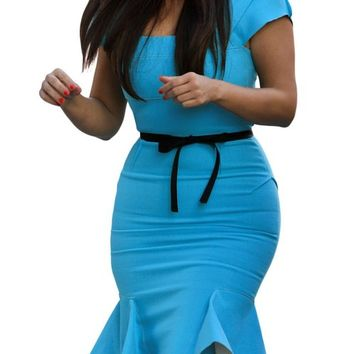 Miusol Women's Casual Peplum Bow-Knot Belt Fitted Bodycon Party Dress