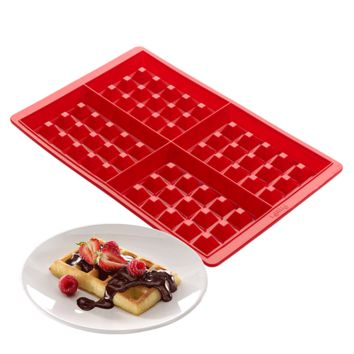 4-Cavity Mini Waffles Cake Chocolate Pan Silicone DIY Tray Cake Mold Cookie Mould Baking Tool