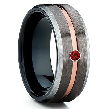 Ruby Tungsten Wedding Band - Ruby Wedding Band - Gunmetal Tungsten Ring