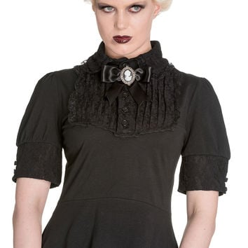 Plus Size Victorian Steampunk Black Lace Insert Top with Cameo Broach By Spin Doctor
