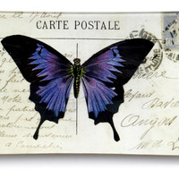 """8"""" Butterfly Hand-Decoupaged Tray, Decorative Trays"""