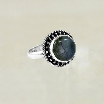 Moonchild Sterling Silver Ring - Moonstone | Labradorite