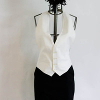 White Wedding Tuxedo Vest by SalvatoCollection on Etsy