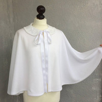 Bridal Cape, Peter Pan Collar, Wedding Bolero, White Lace Collar, Winter Bridal Bolero, Elegant Capelet, Bridal Cover Up, Fleece Short Cape