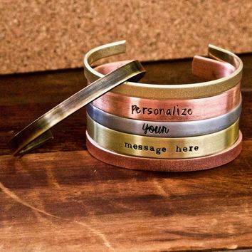 Personalized Cuff Bracelets in Aluminum, Brass, or Copper