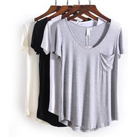 V Neck Pocket Loose TShirt