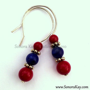 Coral and Lapis Earrings Made to Order can