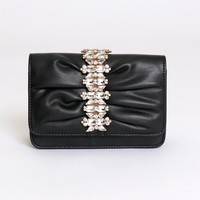 First Date Detailed Clutch Black