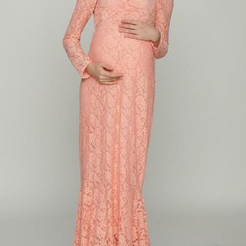 Pink Lace Off Shoulder Backless Mermaid Maternity Photoshoot Elegant Maxi Dress