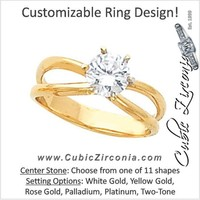 Cubic Zirconia Engagement Ring- The Cara (Customizable Wide-Split-Band Solitaire)