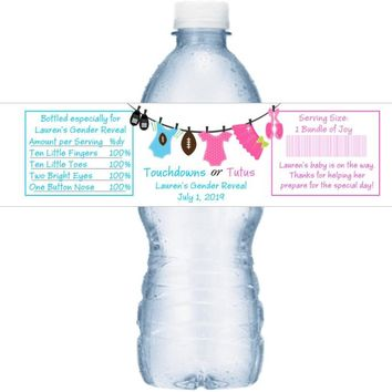 21 Touchdowns or Tutus Baby Shower Water Bottle Labels